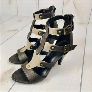 Shoes - Bootcamp Leather & Canvas Open Toe Strap Heels